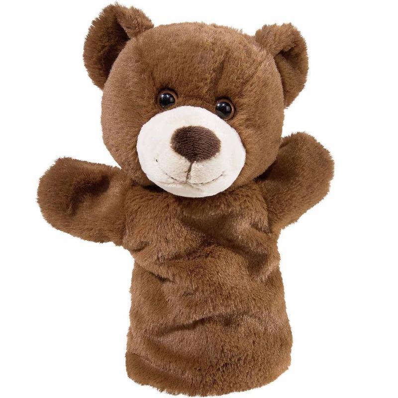 Bruine beer handpop knuffel 25 cm knuffeldieren
