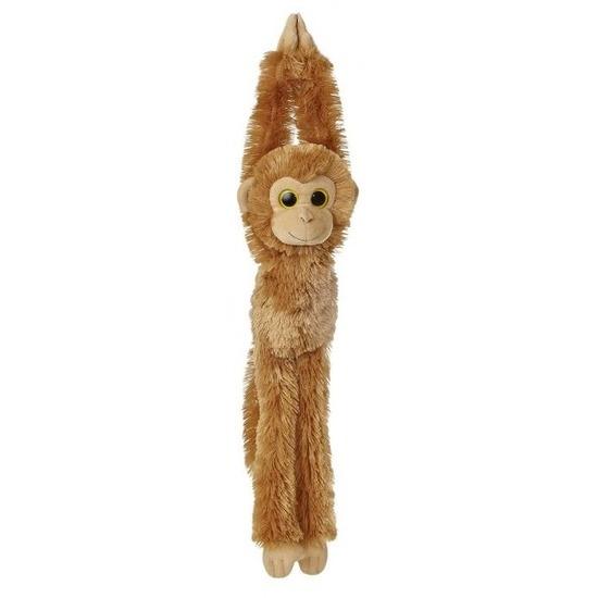 Bruine hangende chimpansee aap/apen knuffel 49 cm knuffeldieren