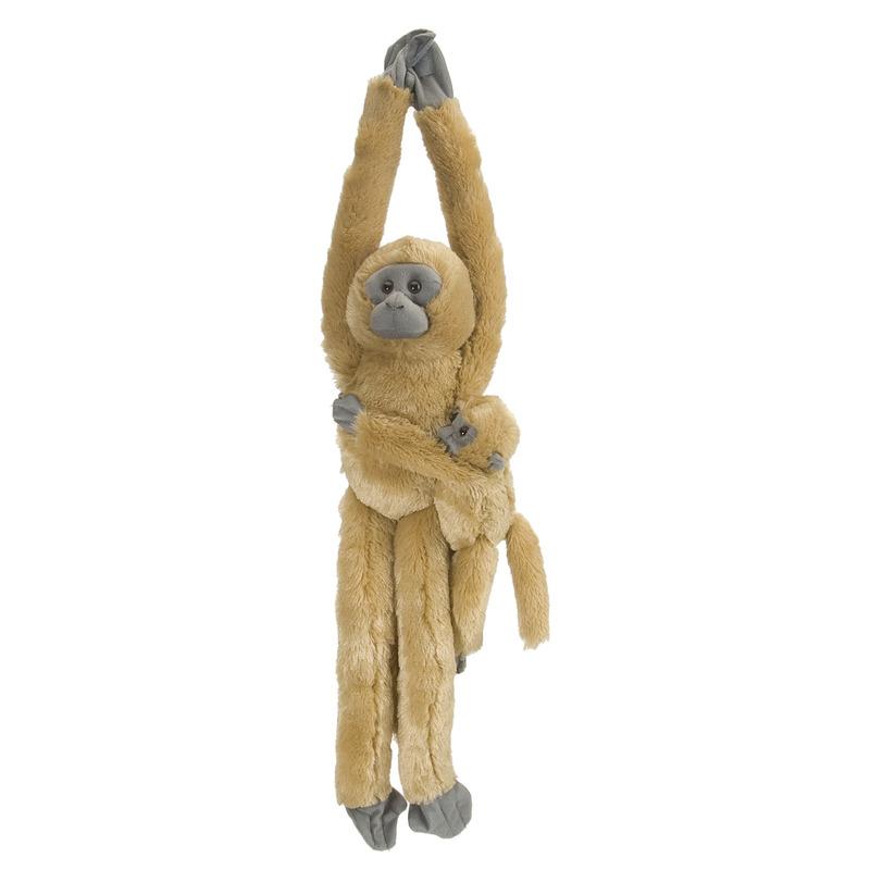 Bruine hangende Hoelmans aap/apen met jonkie knuffel 51 cm knuffeldieren