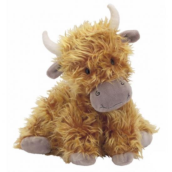 Bruine knuffel koe met horens 23 cm