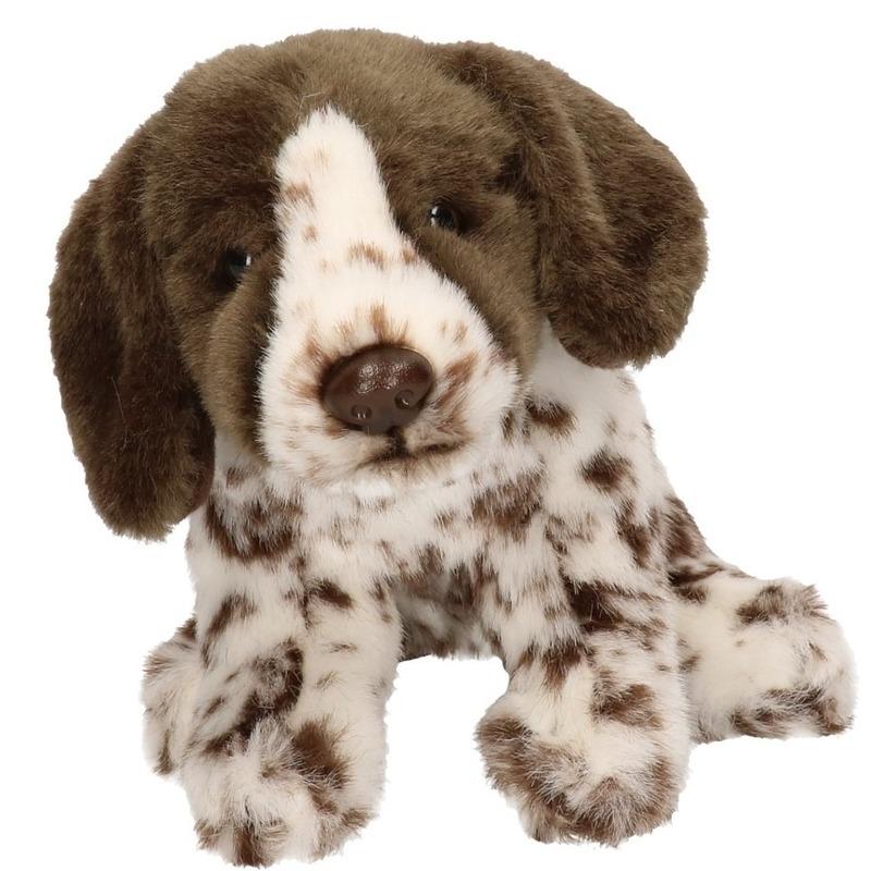 Bruine/witte Engelse Pointer honden knuffels 17 cm knuffeldieren