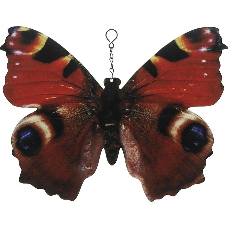 Bruine-zwarte metalen tuindecoratie dagpauwoog vlinder 20 cm