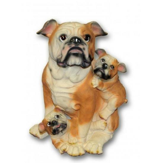 Bulldog met puppies beeldje zittend 35 cm
