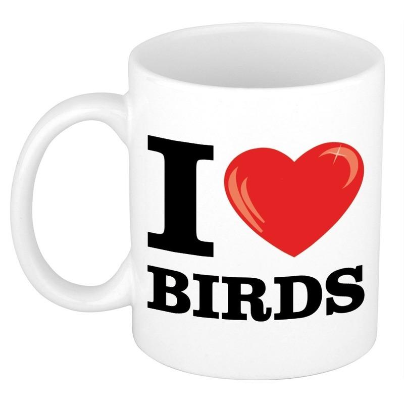 Cadeau I Love Birds koffiemok / beker voor vogel liefhebber 300 ml