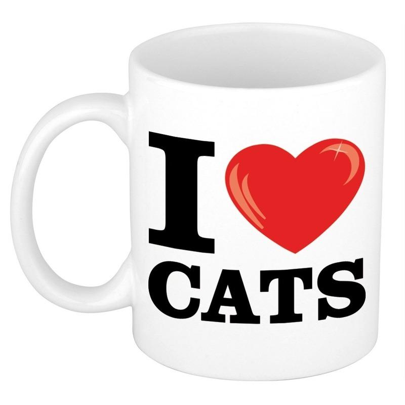 Cadeau I Love Cats koffiemok / beker voor katten/ poezen liefhebber 300 ml
