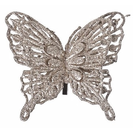 Champagne deco vlinder met glitters 13 x 11 cm