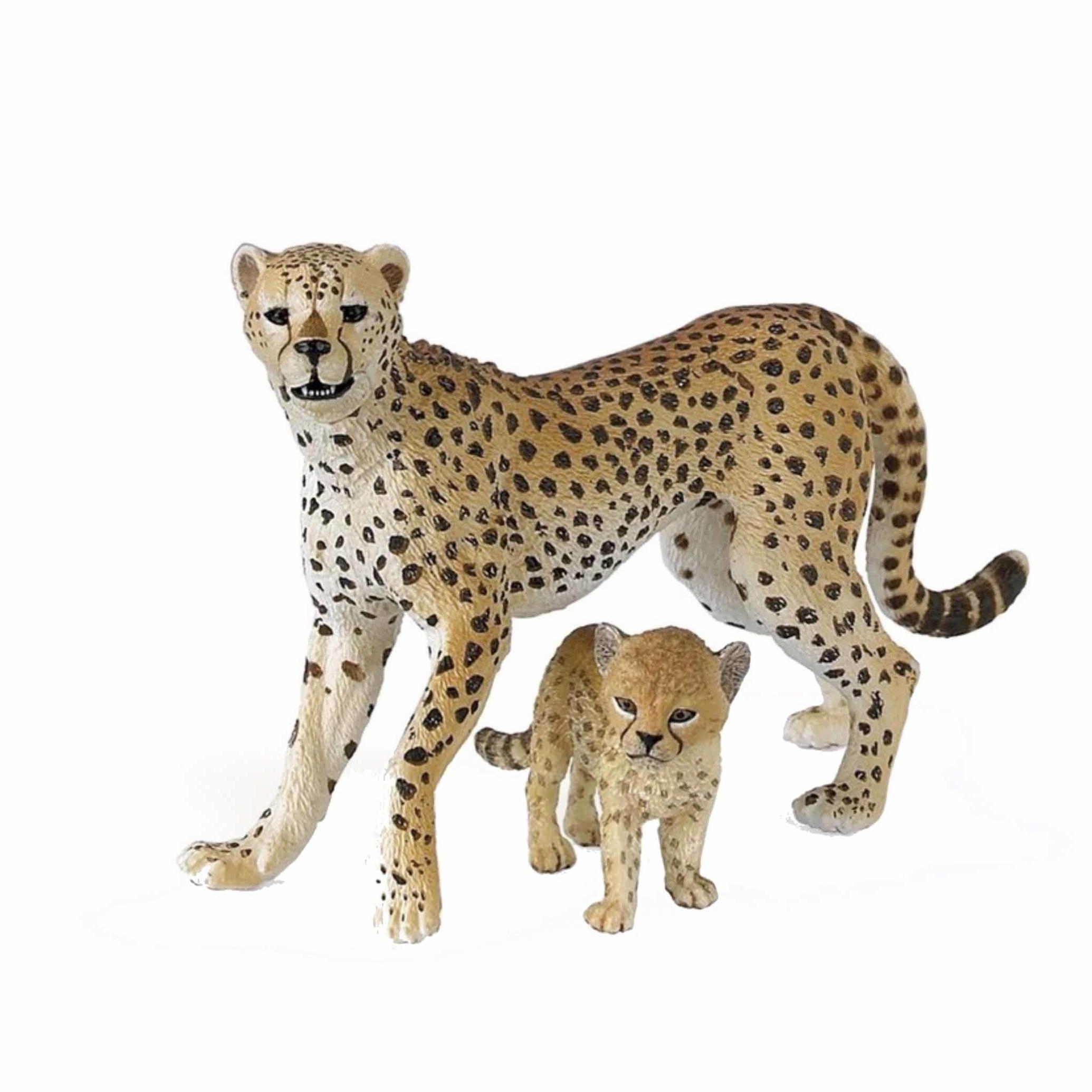 Afbeelding Cheeta met welp speeldiertje 10 cm door Animals Giftshop