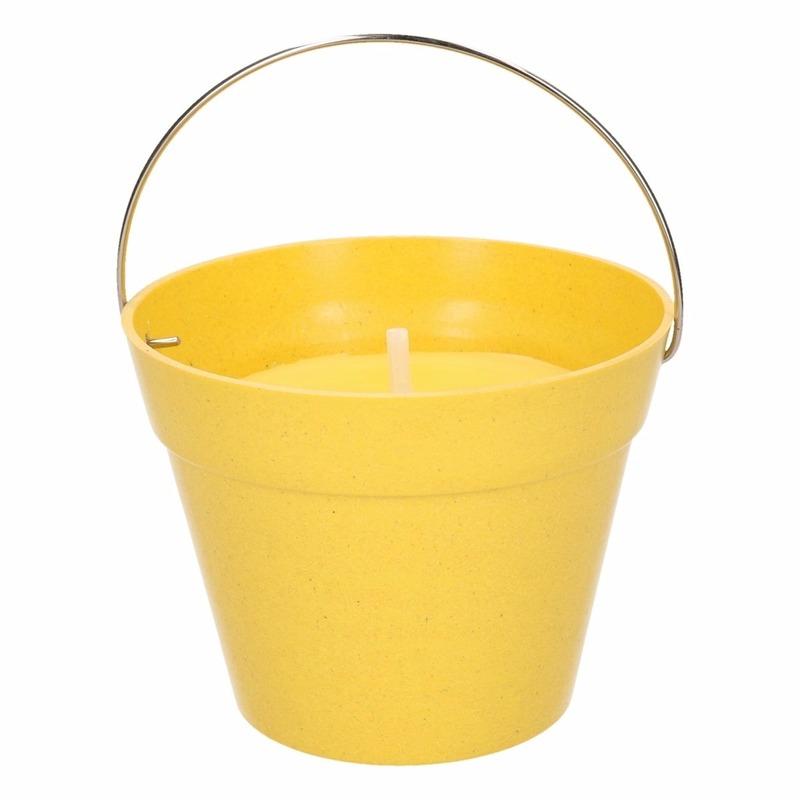 Citronella kaarsen in emmer 14 cm geel