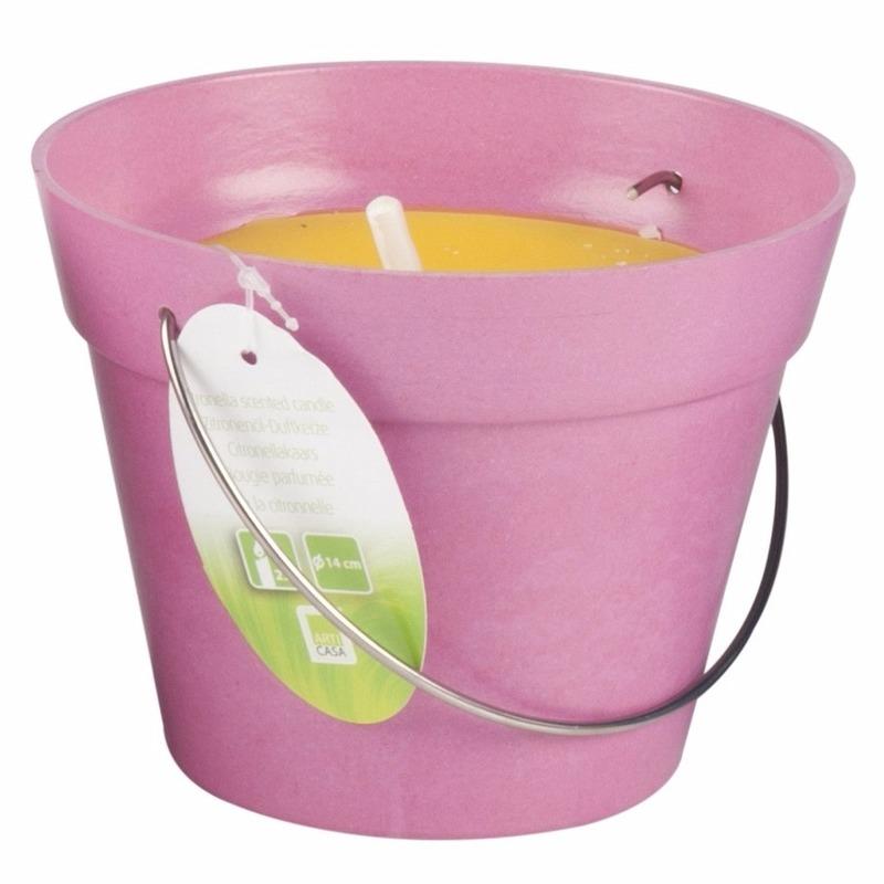 Citronella kaarsen in emmer 14 cm roze