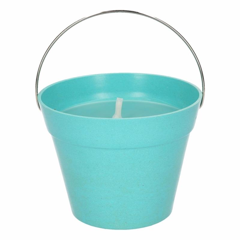 Citronella kaarsen in emmer 14 cm turquoise