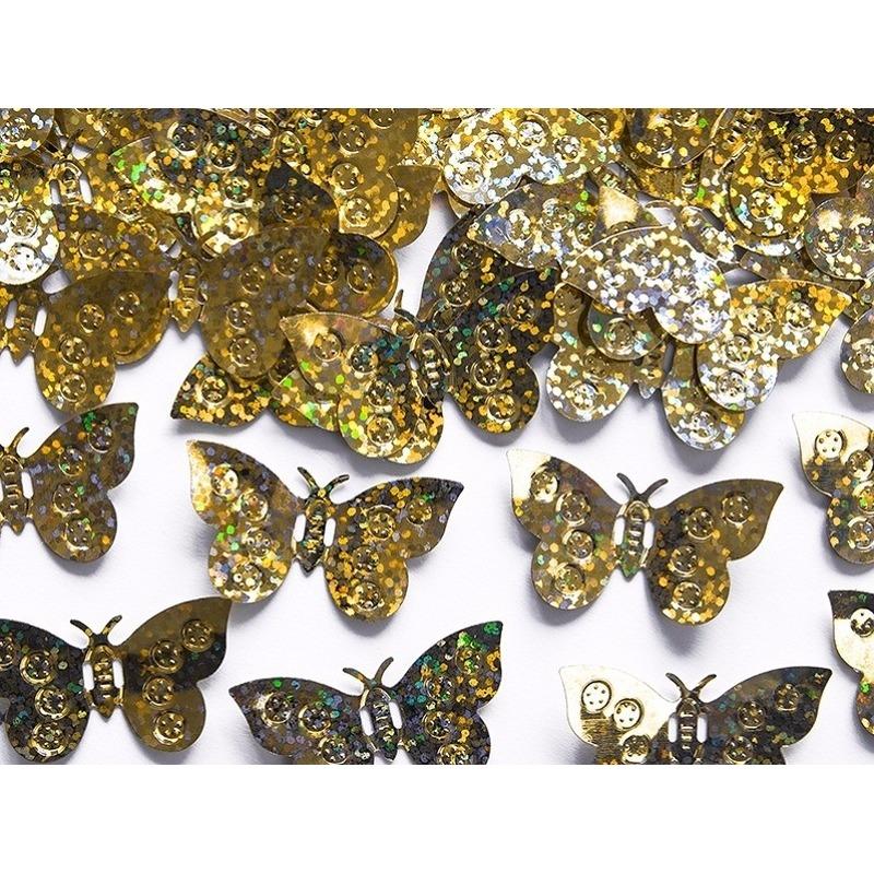 Confetti gouden holografische vlinders van 15 gram
