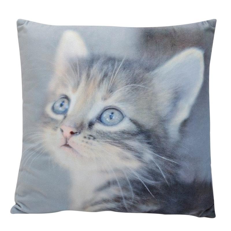 Decoratie kussens Cyperse kitten-poes-kat 34 x 34 cm