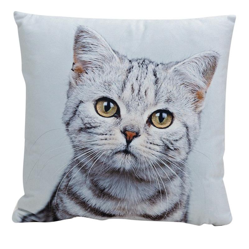 Decoratie kussens Tabby kitten-poes-kat 34 x 34 cm