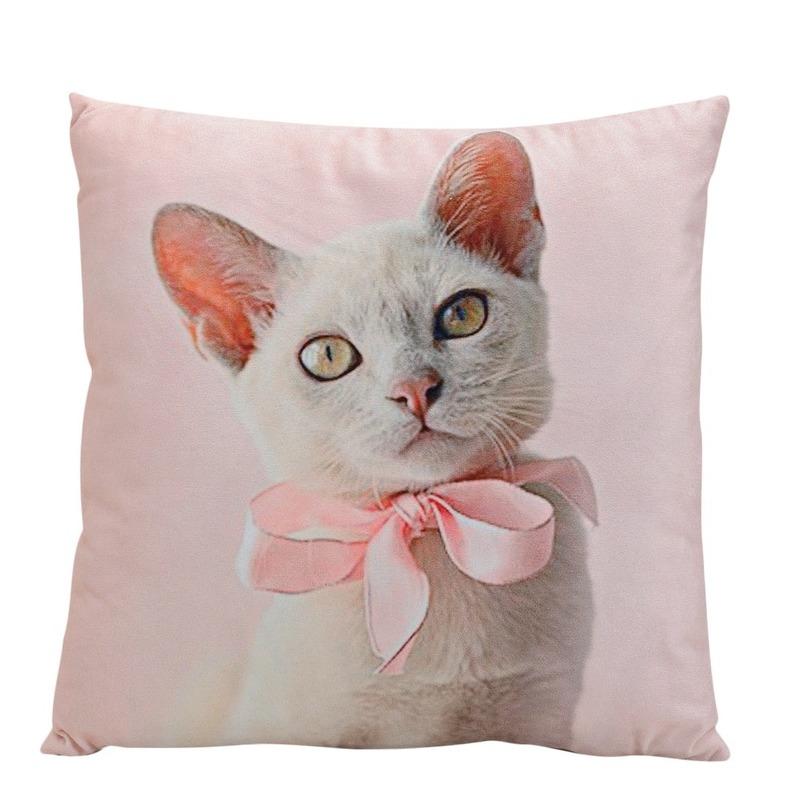 Decoratie kussens witte kat 34 cm