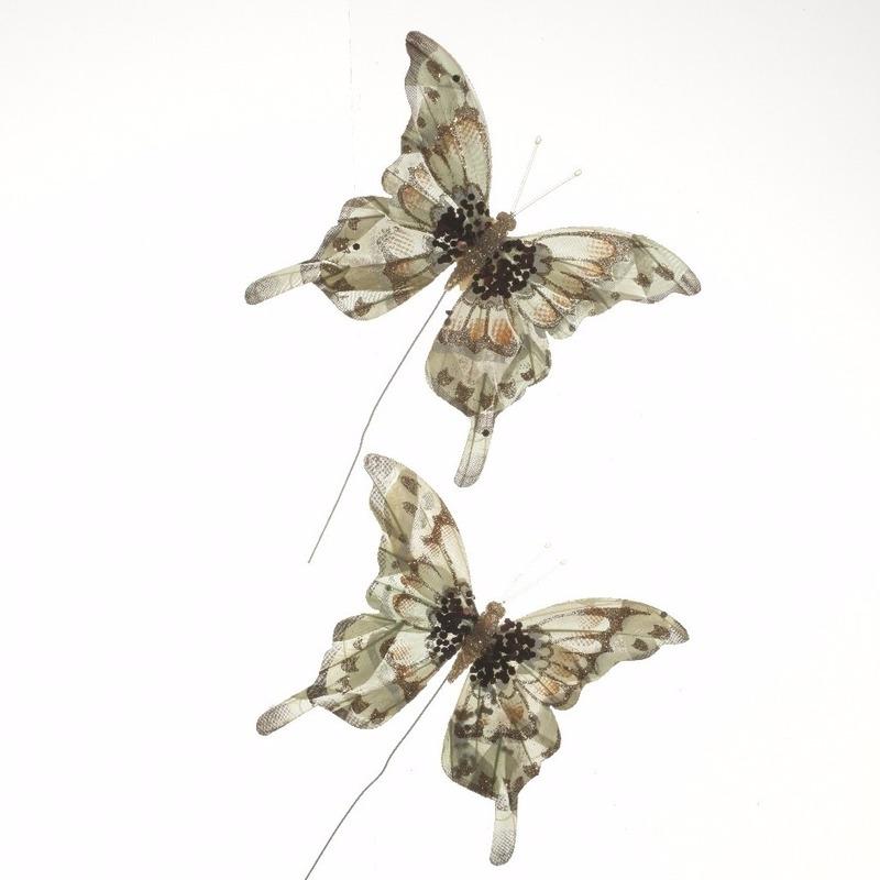 Decoratie vlinders cremekleurig 2 stuks