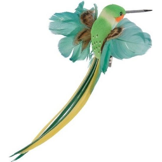 Decoratie vogeltje groene kolibrie 15 cm op clip met echte veren
