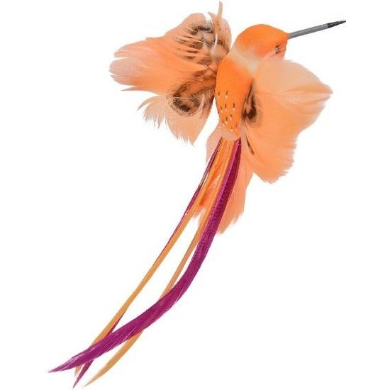 Decoratie vogeltje oranje kolibrie 15 cm op clip met echte veren