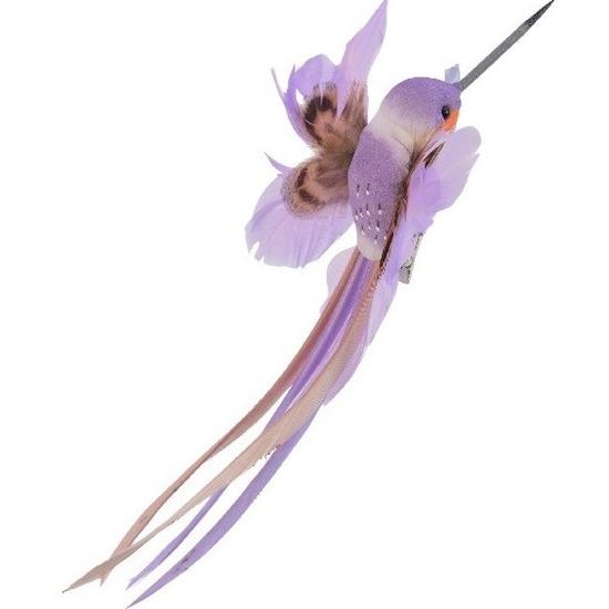 Decoratie vogeltje paarse kolibrie 15 cm op clip met echte veren