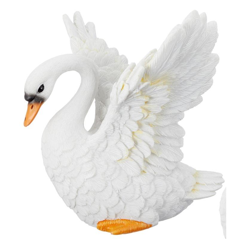 Decoratie zwaan vliegend wit 13 cm