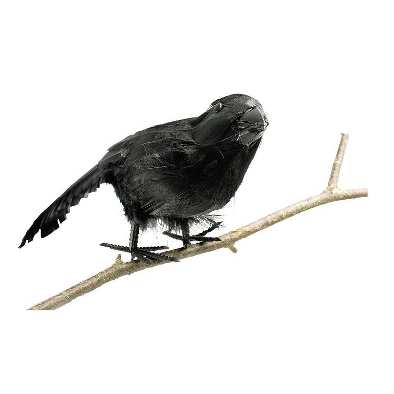 Decoratieve horror raaf/kraai vogel van plastic 18 cm