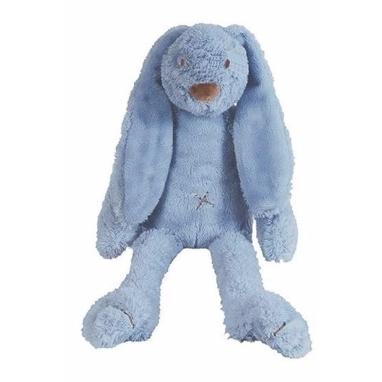 Denim blauw knuffel konijn Richie 28 cm
