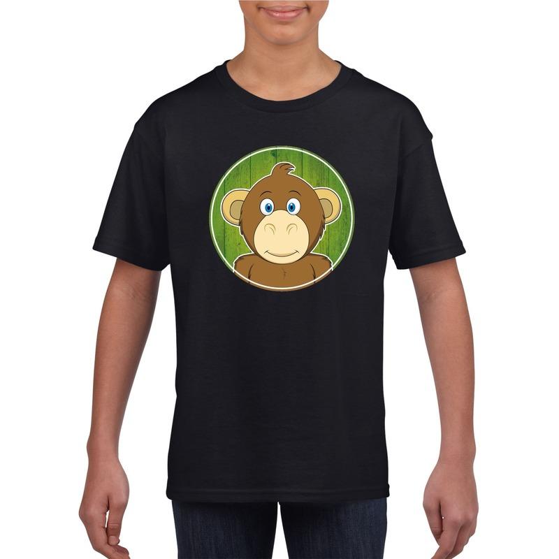 Dieren aap shirt zwart jongens en meisjes