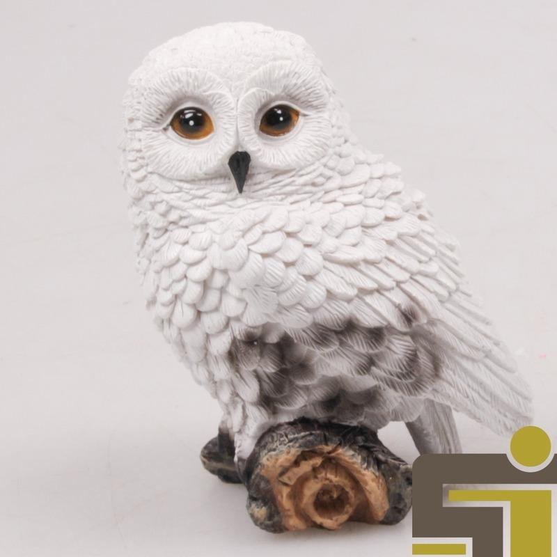Afbeelding Dieren beeldje sneeuwuil polystone 10 cm door Animals Giftshop