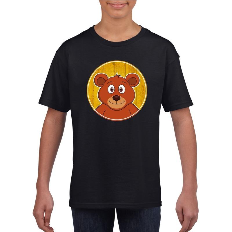 Dieren beer shirt zwart jongens en meisjes