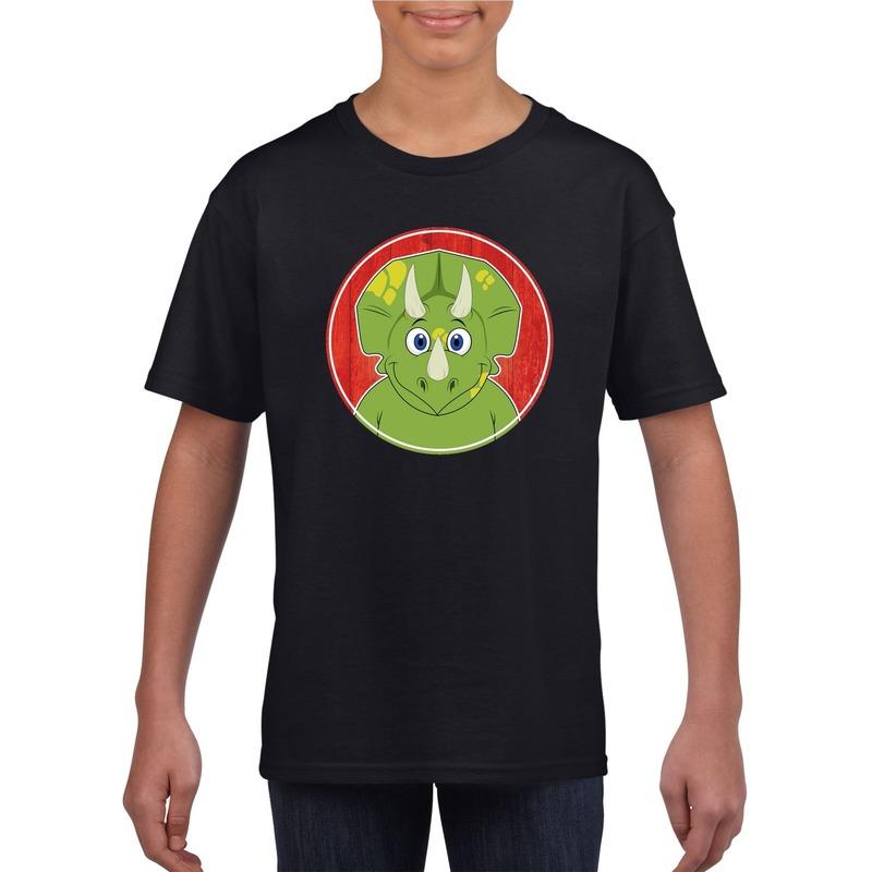 Dieren dinosourus shirt zwart jongens en meisjes