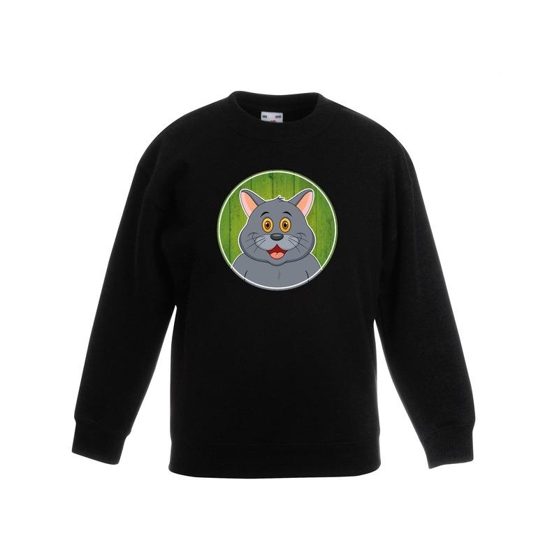 Dieren grijze kat trui zwart jongens en meisjes