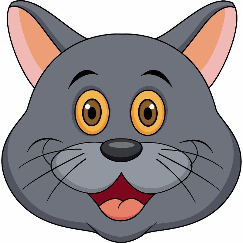 Dieren masker grijze kat/poes voor kids