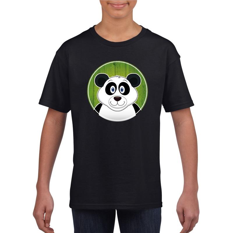 Dieren panda shirt zwart jongens en meisjes