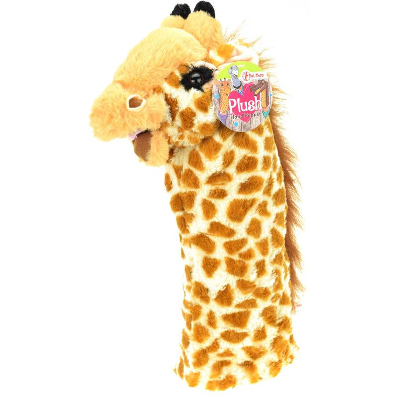 Afbeelding Dieren pluche handpop giraffe 40 cm door Animals Giftshop