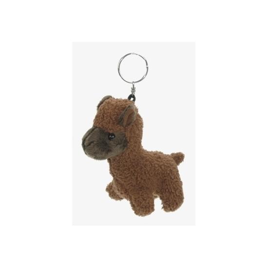 Dieren sleutelhanger bruine alpaca 12 cm