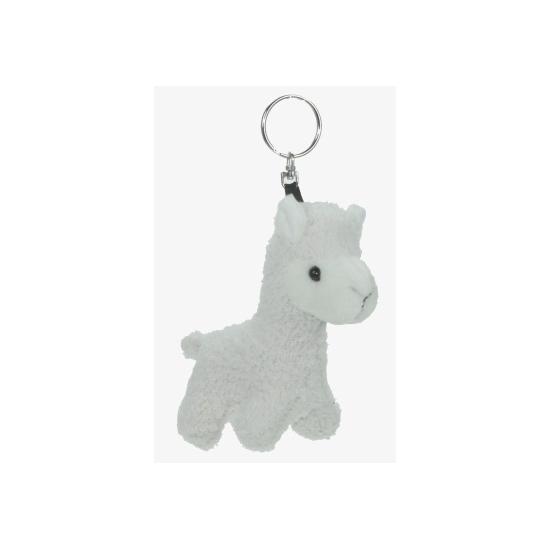 Dieren sleutelhanger witte alpaca 12 cm