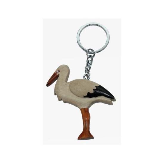Dieren sleutelhangers vogel ooievaar 6 cm