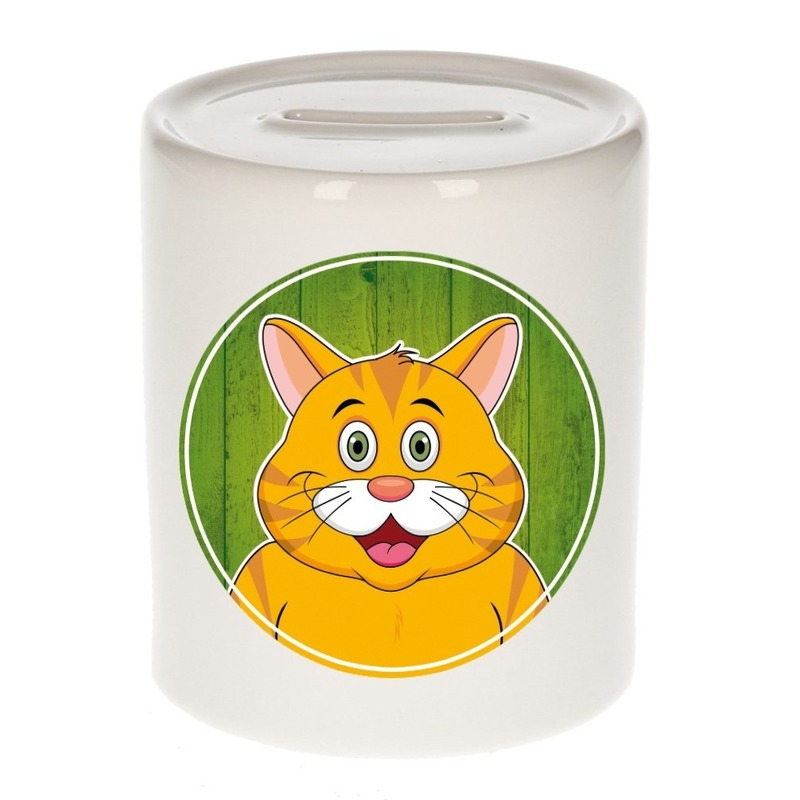 Dieren spaarpot kat oranje voor kinderen 9 cm