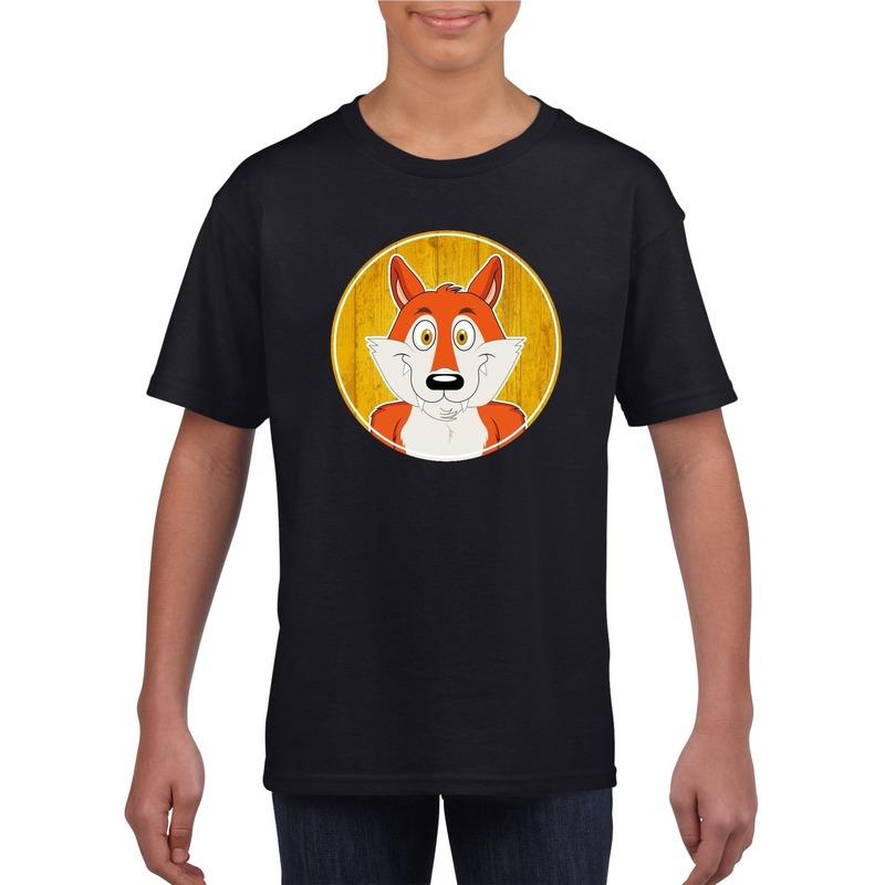 Dieren vos shirt zwart jongens en meisjes