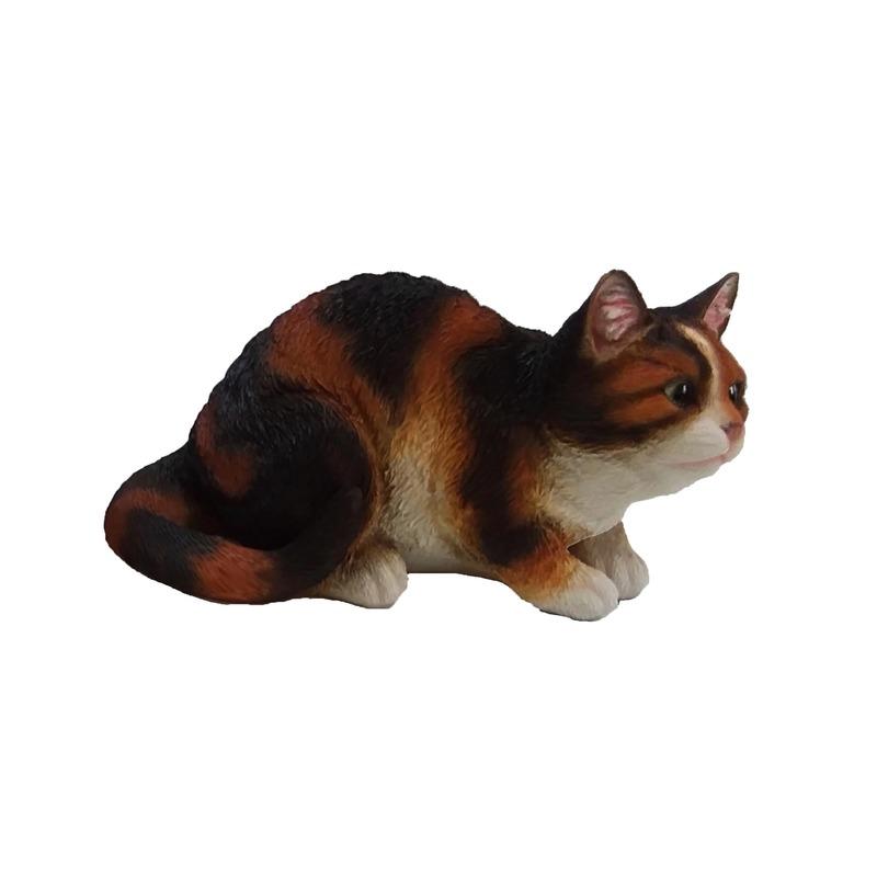 Dierenbeeldje gekleurde katten/poezen kitten zittend 32 cm