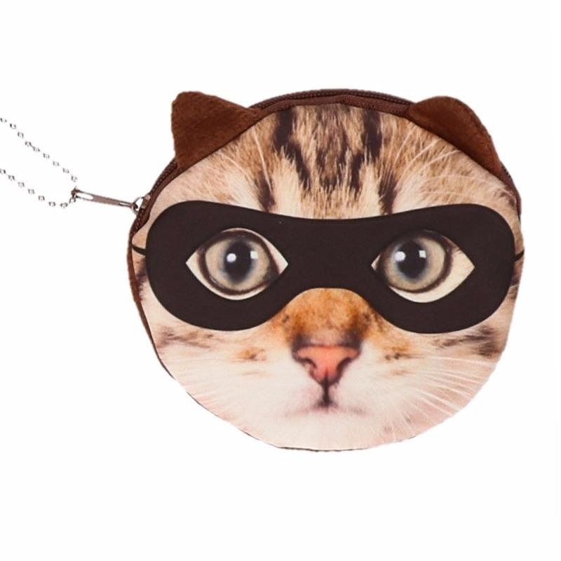 Dierenprint portemonnee bruine kat met masker 10 x 11 cm