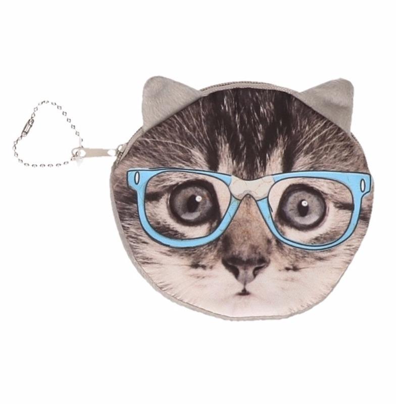 Dierenprint portemonnee grijze kat met bril 10 x 11 cm