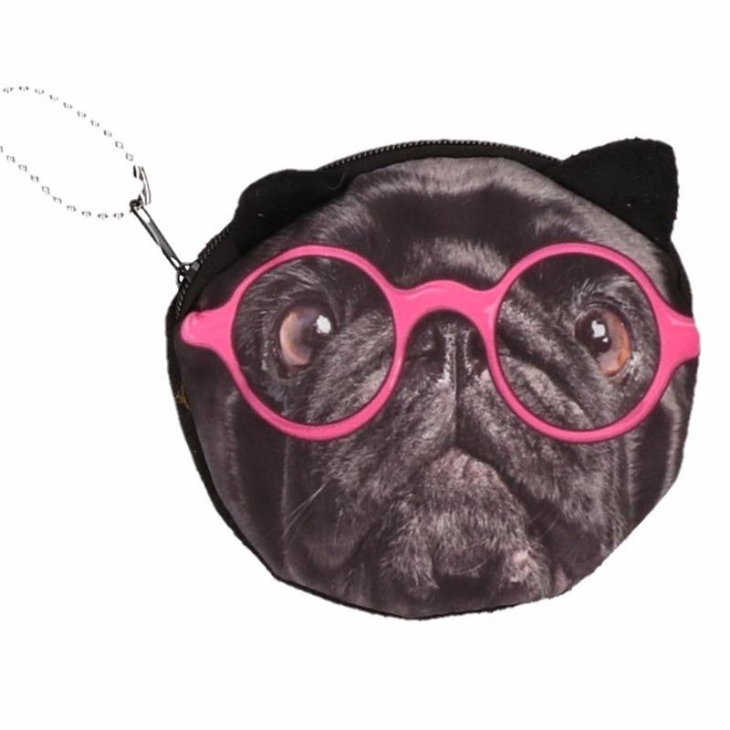Dierenprint portemonnee zwarte mopshond roze bril 10 x 11 cm