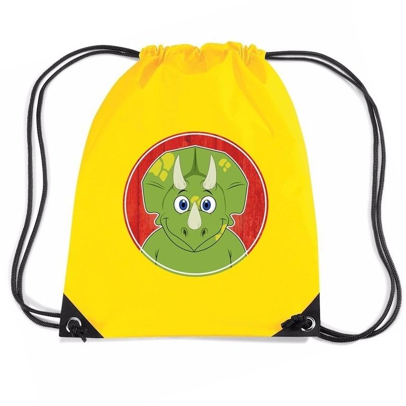 Dino dieren trekkoord rugzak - gymtas geel voor kinderen