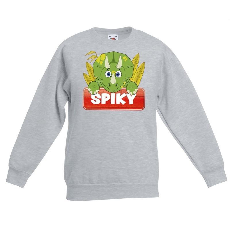 Dinosaurier dieren sweater grijs voor kinderen