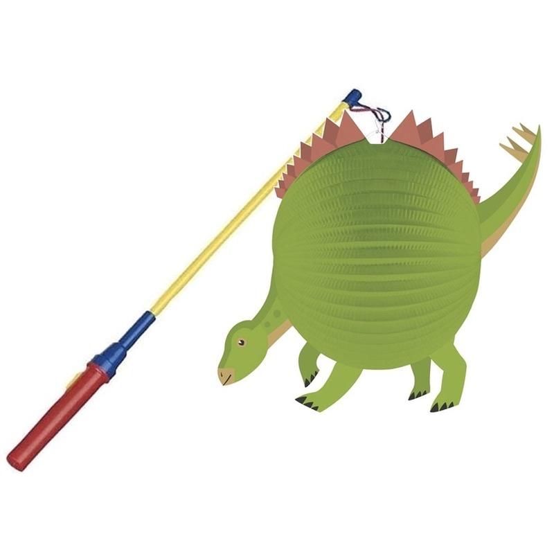 Dinosaurus ronde lampion 25 cm met lampionstokje