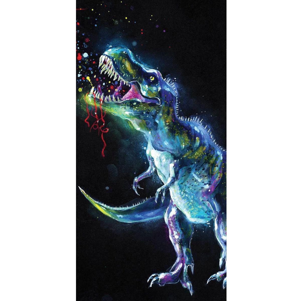 Dinosaurus Tyrannosaurus rex badhanddoek zwart 70 x 140 cm