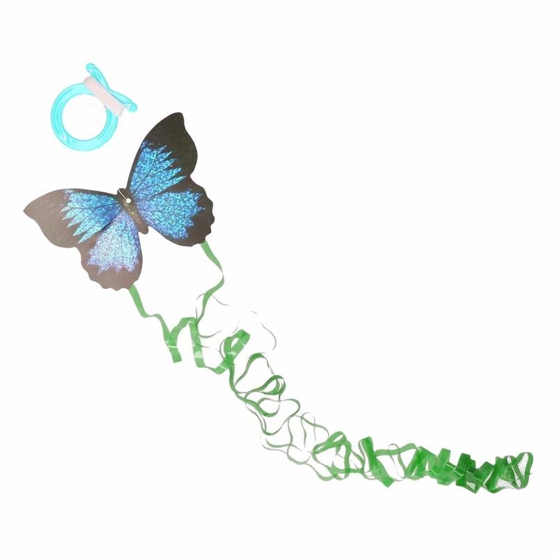 Donkerblauwe vlinder mini vlieger van 10 x 7 cm