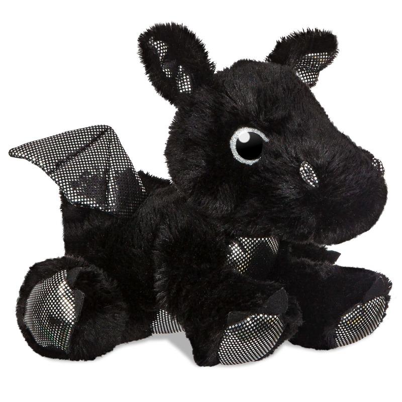 Draken knuffels zwart 30 cm knuffeldieren