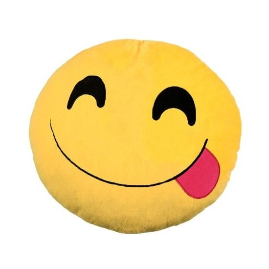 Afbeelding Emoticon smileys kussentje tong 30 cm door Animals Giftshop