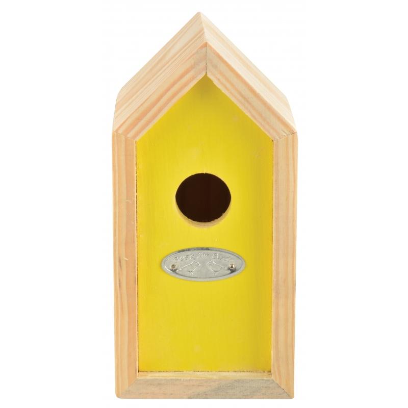 Geel nestkastje voor kleine tuinvogels 10x11x20 cm